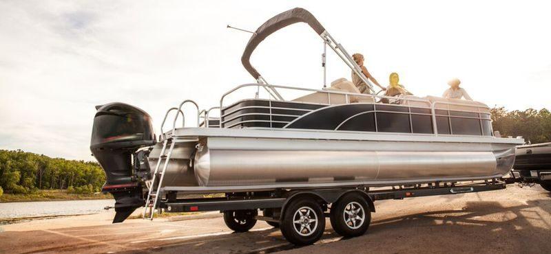 Pontoon boat on trailer